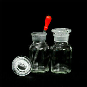 1 10pcs Clear Wide Mouth Ground Stopper Glass With Drop Reagent Bottle 125ml