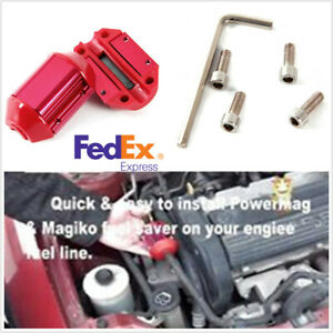 Red Car Magnetic Gas Fuel Saver Device Economizer Engine Protect Reduce Emission
