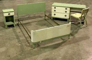 Vintage Norman Bel Geddes Simmons Furniture Metal Desk Night Stand Bed Chair