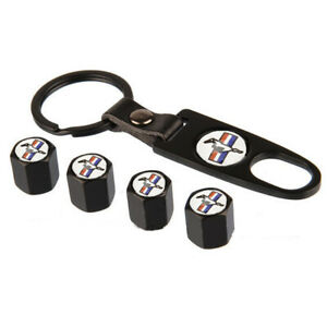 4x Car Wheel Tire Valve Stem Caps Air Dust Cover Key Chain For Ford Mustang Gt