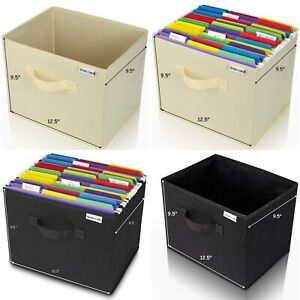 Collapsible Folder Organizer File Storage Box White Or Black Holds Hanging Folde