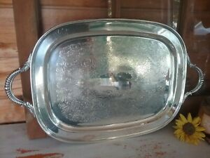 Vintage Art S Co Silver Plate On Copper Serving Tray 179 Rectangle Butler Tray