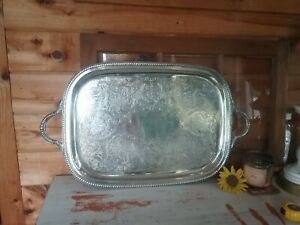 Vintage Art S Co Silver Plate Copper Large Serving Tray Rectangle Butler 27 X16