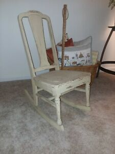 Sewing Rocker With Woven Seat Antique Wooden