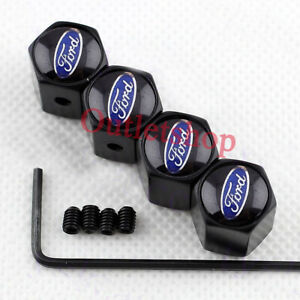 Black Anti Theft Car Wheel Tire Valve Stem Caps Dust Cover For Ford Accessories