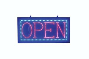 Ultra Bright Red Led Open Sign With Blue Led Border Superviewvision