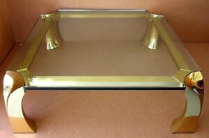 Mcm Italian Karl Springer Style Asian Ming Brass Glass Coffee Table 42