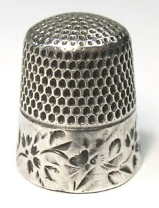 Antique Stern Brothers Co Sterling Silver Thimble Folk Art Butterflies Flowers