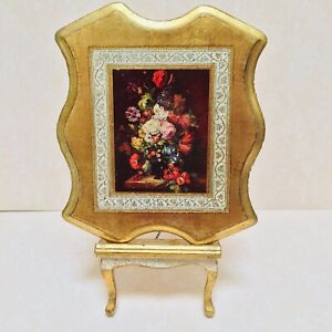 Vtg Florentine Gold Guilt Wood Floral Bouquet Picture Plaque Italy 8 X 10