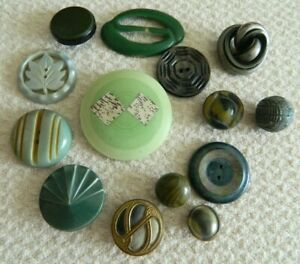 Lot Celluloid Green Shades Deco Style Buttons Wafer Carved Extruded Antique Vtg