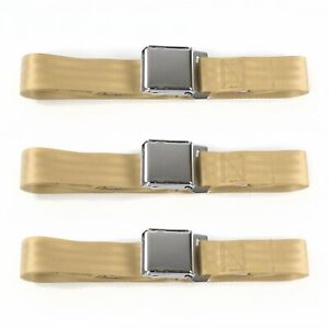 Ford Thunderbird 1967 1976 Airplane 2pt Tan Lap Bench Seat Belt Kit 3 Belts