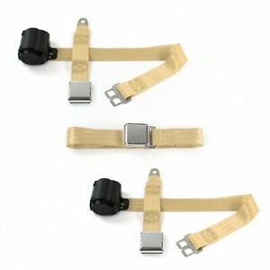 Ford 1952 1954 Airplane 2pt Tan Retractable Bench Seat Belt Kit 3 Belts