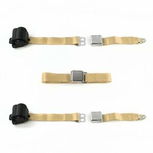 Ford 1955 1956 Airplane 2pt Tan Retractable Bench Seat Belt Kit 3 Belts Hot