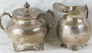 Vtg Mexico Taxco J Torres Sterling Silver Sugar Bowl And Creamer Set 1lb 6ozs