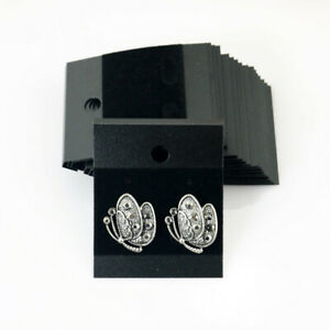 100pcs Jewelry Earring Ear Studs Hanging Display Holder Hang Cards Black Flocked