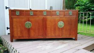 Vtg 72 Mid Century Rosewood Chinese Asian Sideboard Buffet W 4 Doors 5 Drawers
