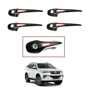 Door Handle Cover Black Matte Red Exterior For 2015 2019 On Toyota Fortuner Suv