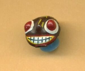 Painted Paper Mache Demon Mask Stud Button From Sri Lanka