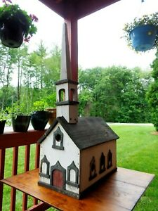 Early Mid 20th C Vint Hand Crafted Painted Congregational Church Bird House