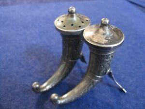 Sterling Silver Viking Horn Salt And Pepper Shakers By Theodore Olsens Of Norway