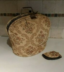 Antique Victorian Era Tapestry Padded Tea Cozy Cosy With Frame Handle Cover