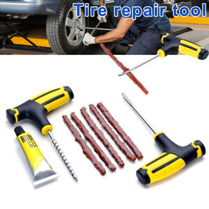 Car Tubeless Tyre Tire Puncture Repair Glue Plug Kits Needle Patch Fix Tools Set