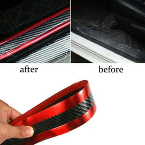 Car Sticker Carbon Fiber Red Rubber Door Sill Protector Edge Guard Strip New Wer