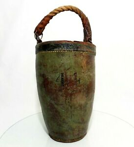Rare Early 19th C 1820 Antique Leather Fire Bucket W Orig Green Paint Stencil