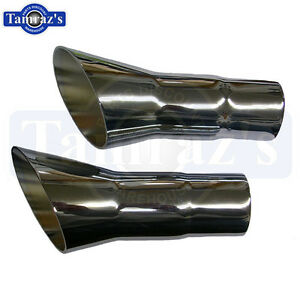 1968 1972 Cutlass 442 Chrome Exhaust Tips Trumpets Pair With Stock 2 Exhaust