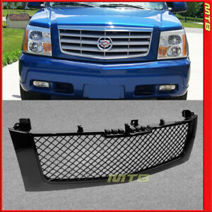 Front Upper Bumper Grille Badgeless For Cadillac Escalade 02 06 Glossy Black