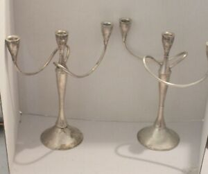 International Sterling Silver Pair 3 Arm Candelabra Candle Stick Holder 150 65