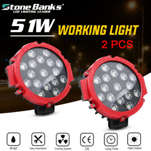 2pcs 7inch 51w Led Work Light Offroad Bumper Fog Round Tractor Atv 4wd Suv Truck
