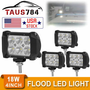 4pcs 4inch 18w Led Work Light Bar Driving Offroad Flood Beam Suv Atv New 4 lamps