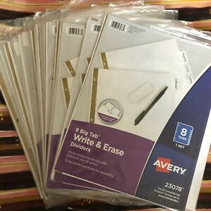 Lot Of 19 Avery 23078 8 Big Tab Write Erase Dividers School Office Supply