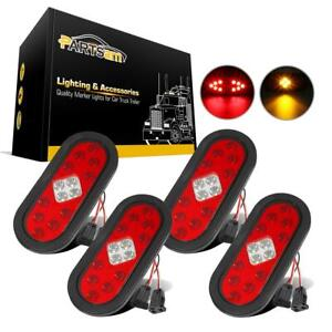 4xtruck Trailer 6 Oval 14led Stop Tail Turn Signal Lights Includes Grommet plug