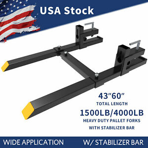 4000lb 1500lb Bucket Pallet Forks Clamp On Loader Quick Tach W Stabilizer Bar