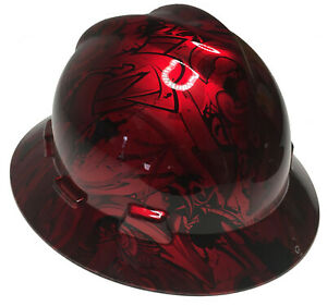 Custom Hydro Dipped Msa V gard Full Brim Kandy Red Graffiti W Free Brb Tshirt