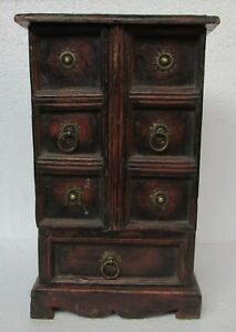 Vintage Old Hand Carved Wooden Jewellery Box Door Drawer Box Chest Collectible