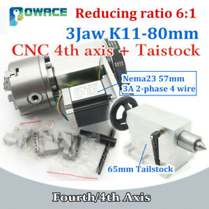 The Rotary 4th Axis Cnc Dividing Head 3 Jaw K11 80mm ratio 6 1