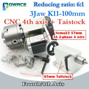 4th Axis Cnc Dividing Head rotation Axis K11 100mm 65mm Tailstock For Cnc Router