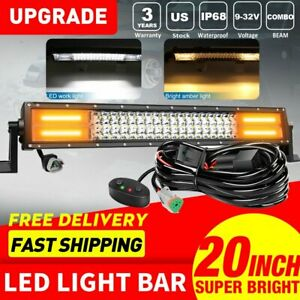 20inch 288w Off Road Amber Strobe Dual Color Led Light Bar Combo Beam Suv Truck