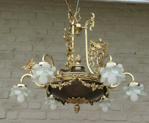 Huge French Empire Birds Brass Metal Chandelier Glass Tulips