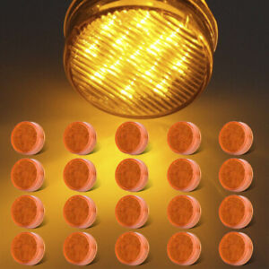 20pcs 2 5 Round Amber 13led Clearance Side Marker Light Trailer Truck Rv Light