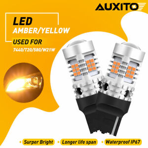 Auxito Canbus 7443 7444na 7440 W21w Amber Led Turn Signal Light Bulbs High Power