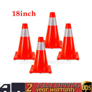 4pcs Pvc 18 Fluorescent Red Reflective Road Traffic Parking Lots Safety Cones