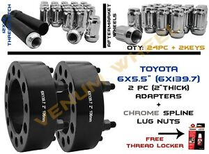 2pc 6x5 5 6x139 7mm 2 Hubcentric Adapters 24 Chrome Lug Nuts With 2 Sockets