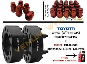 2pc 2 Thick Toyota 6x5 5 6x139 7mm Hubcentric Wheel Adapter 24 Bulge Lug Nuts