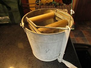 Vintage Wash Bucket Eagle 14 Galvanized Metal Mop Wringer Wood Rollers Steampunk