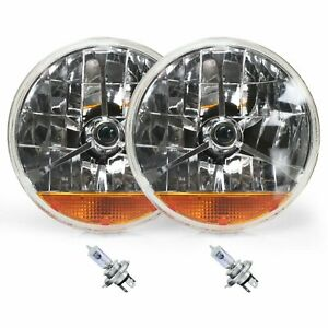 Street Hot Rat Rod 7 Tri Bar Blue Dot H4 Headlights Pair Amber Turn Signals 12v