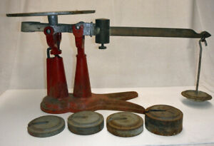 Antique 2 Toe Claw Crow Foot Cast Iron Fairbanks Scale With Weights